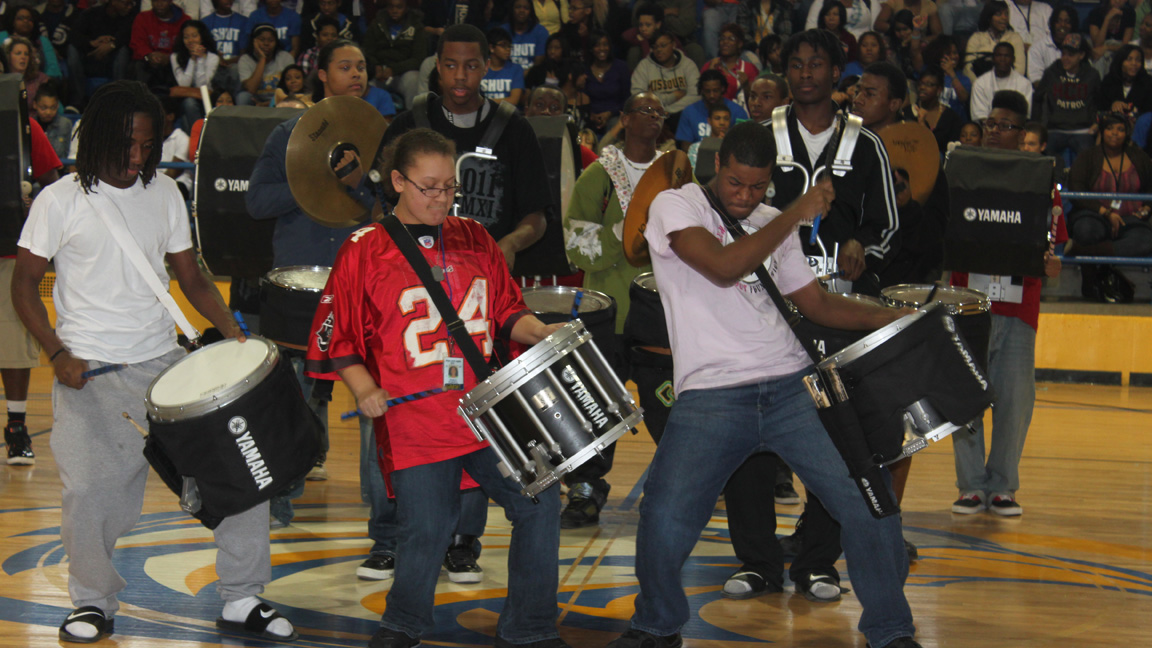 The RHS Drumline led the students into the gym to begin the pep rally and got everyone hyped.