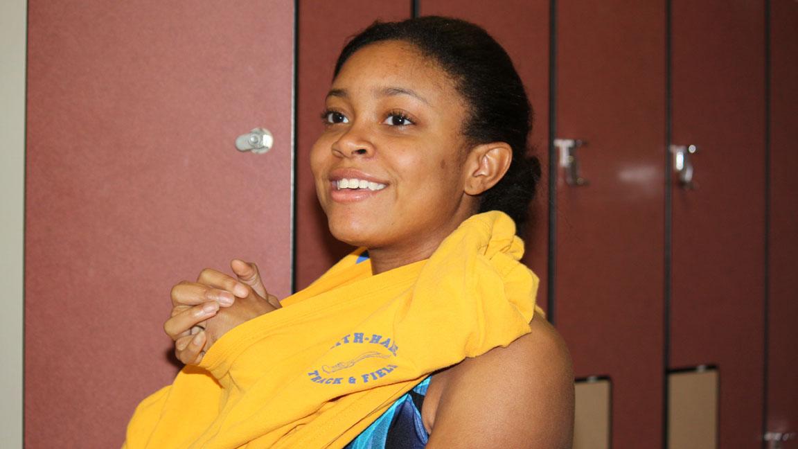 Junior Maya Purse getting ready for swim practice!