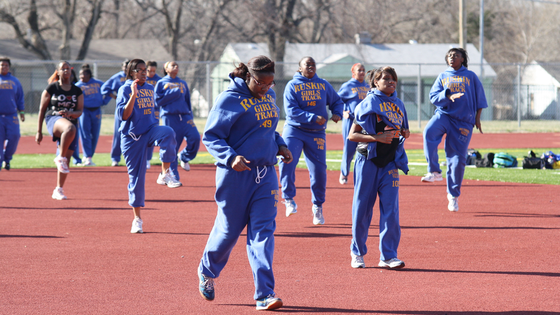 Lady Eagles Track Team warms up for practice. Photo by LeAundre Williams.