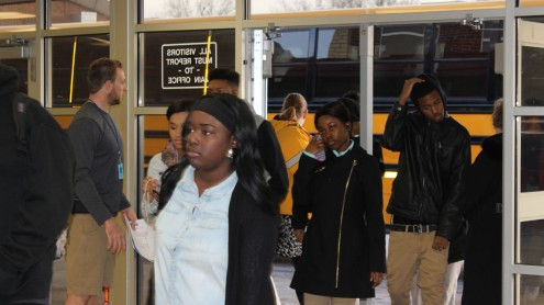 Teachers and administrators gave a warm welcome to students as they entered school Jan. 6.