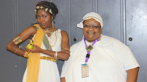 """Junior Ariona Verge and Communication Arts teacher Carla Gunner show their spirit on """"Salad Day"""" as they dress in Italian togas."""
