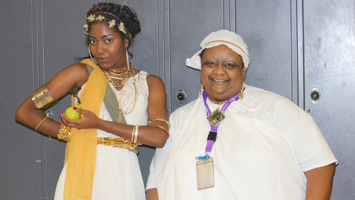 "Junior Ariona Verge and Communication Arts teacher Carla Gunner show their spirit on ""Salad Day"" as they dress in Italian togas."