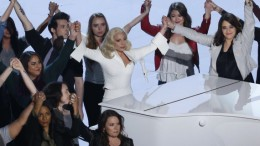 "Lady Gaga holds hands with survivors of sexual abuse after singing her Oscar-nominated song ""Til It Happens to You"" at the 88th Academy Awards in Hollywood, California February 28, 2016. Vice President Joe Biden made a special appearance at the Oscars ceremony on Sunday to advocate for victims of sexual assault and introduced a powerful performance by Lady Gaga that featured survivors of sexual abuse.    REUTERS/Mario Anzuoni - RTS8HSO"