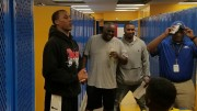 Marcus Peters, Chiefs cornerback visits with the Ruskin Eagles football team in the locker room before their game against Raytown. Photo Credit: Torrence Allen RHS