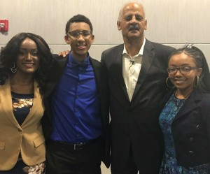 After the interview with Stedman Graham, G-Rap mentor India Williams, G-Rap members seniors Kalan Hooks and TateAnna Gravely-Moss, from University Academy, pose for a picture. Hooks had the opportunity to interview Graham and hear him speak in Kansas City, Mo. Photo Credit: @Generation Rap